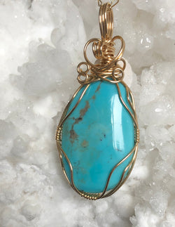 """Sunny Days"" American Turquoise pendant with chain"