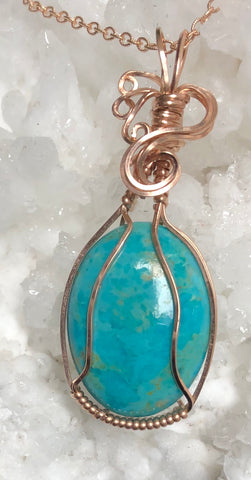 """Bright Wishes""  Nevada Turquoise pendant with chain"