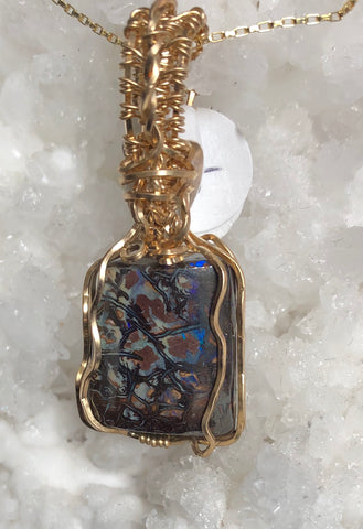 """Small Packages"" Boulder Opal pendant with chain"