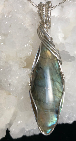 """Brighten My Day"". Labradorite pendant with chain"