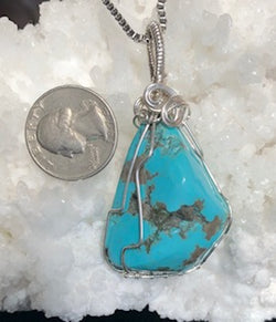 """Canyons and Clouds""  Freeform large Turquoise pendant with chain"