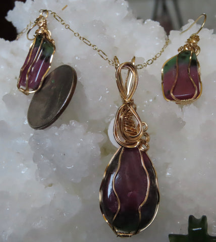 """Fruit and Flowers""  Ruby in Zoisite pendant with earrings.  3pc set"
