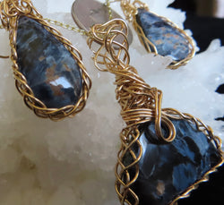"""Rolling Clouds""  3 pc set,  Pietersite pendant on a chain plus Earrings"