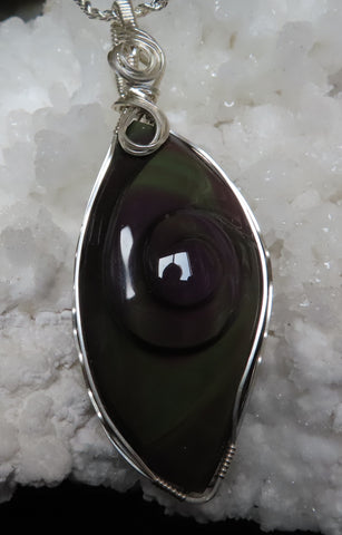 """Shades of the Aurora Borealis"".  Rainbow Obsidian pendant with chain."