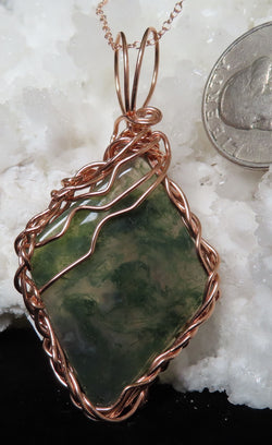 """Stay on the Path"". Green Moss Agate pendant with chain."