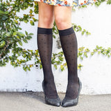 REJUVA Sheer Dot Black Below Knee Stockings 15 - 20mmHG - Soul Legs