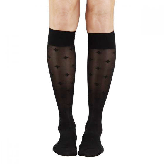 SOUL LEGS Sheer Petal Toss Black Below Knee Stockings 15 - 20mmHG