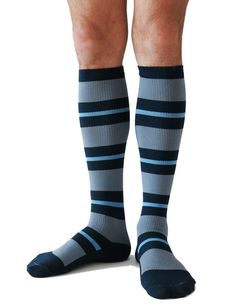 SOUL LEGS Men's Navy Stripe Dress Socks 15 - 20mmHG - Soul Legs