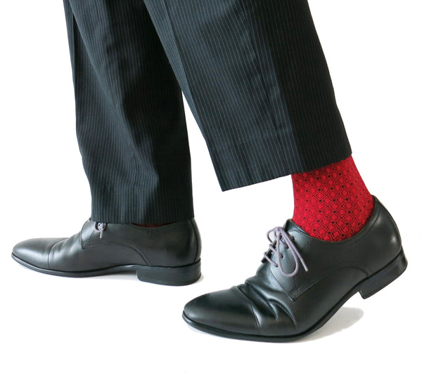 SOUL LEGS Men's Red Diamond Block Dress Socks 15 - 20 mmHG - Soul Legs