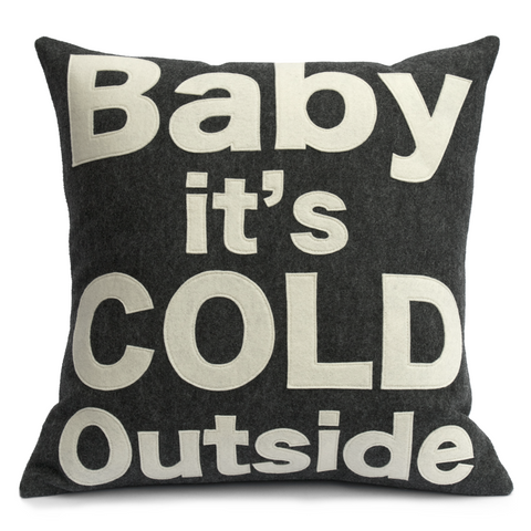 Baby it's Cold Outside -  Pillow Cover in Charcoal and Antique White - 18 inches - Studio Arethusa