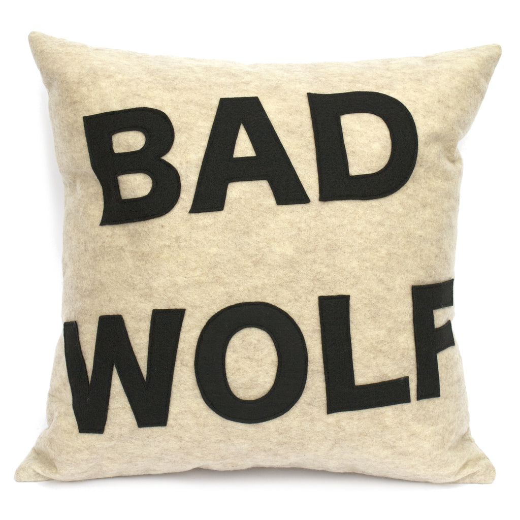Bad Wolf Pillow Cover in Sandstone and Black - 18 inches - Studio Arethusa