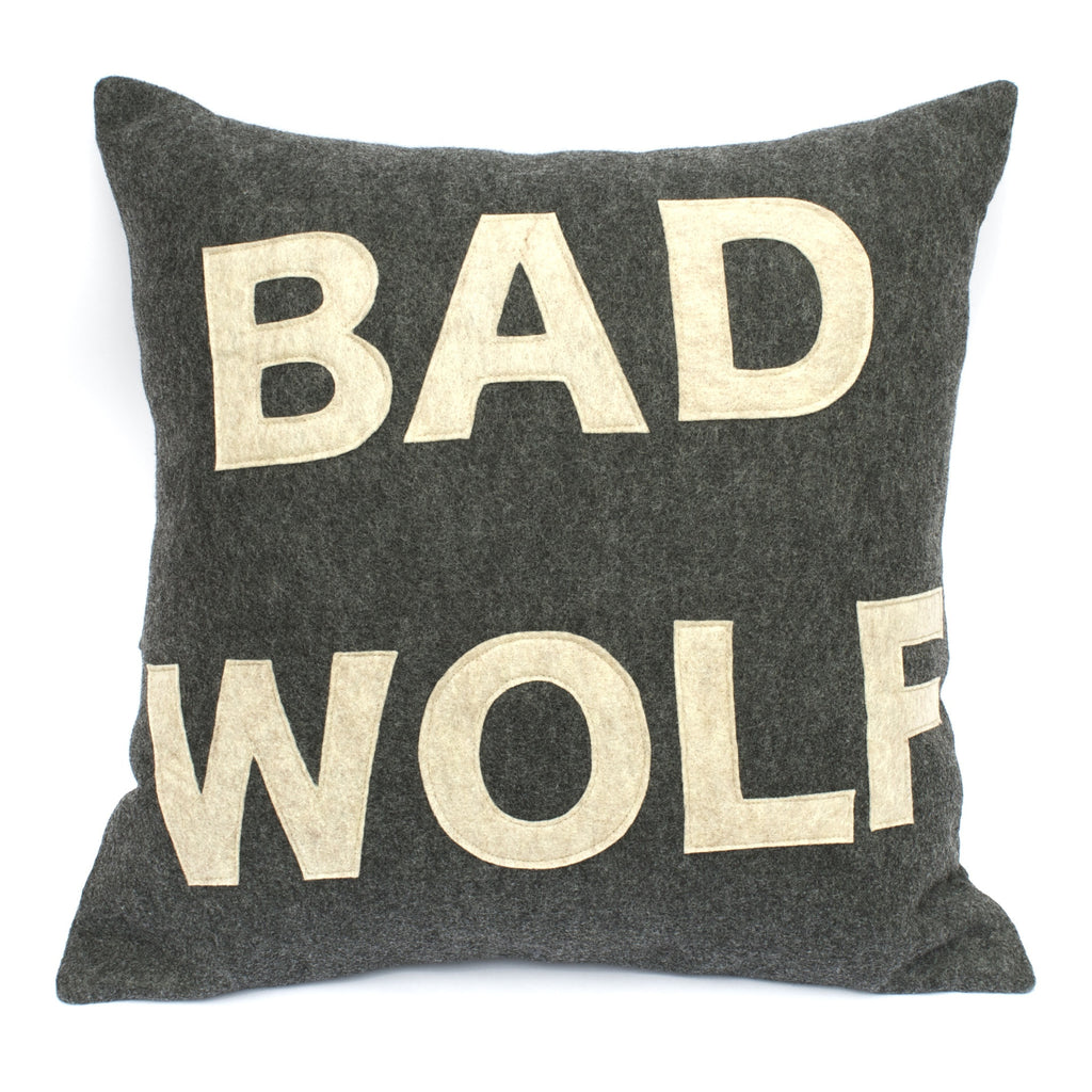 Bad Wolf- Doctor Who inspired Pillow Cover in Charcoal Grey and Sandstone - 18 inches - Studio Arethusa