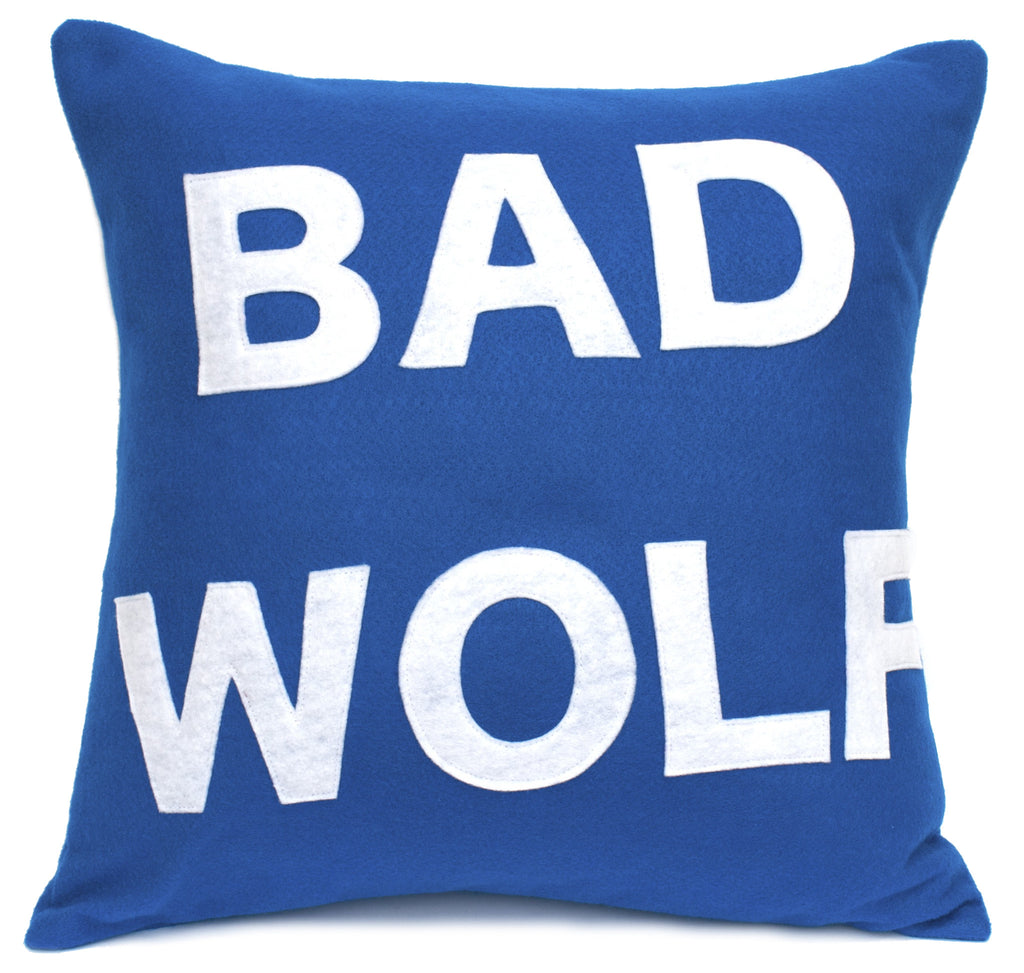 Bad Wolf Pillow Cover Tardis Blue and White - 18 inches - Studio Arethusa