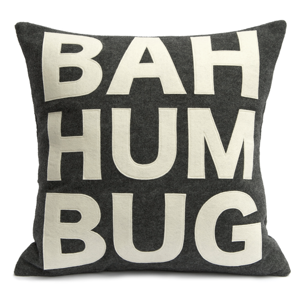 Bah Humbug Pillow Cover in Charcoal and Antique White - 18 inches - Studio Arethusa  - 2