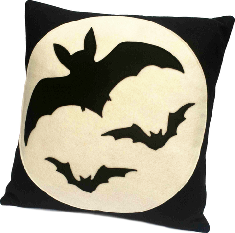 Bats Over the Moon - Full Moon Series 18 inch Pillow Cover - Studio Arethusa  - 1