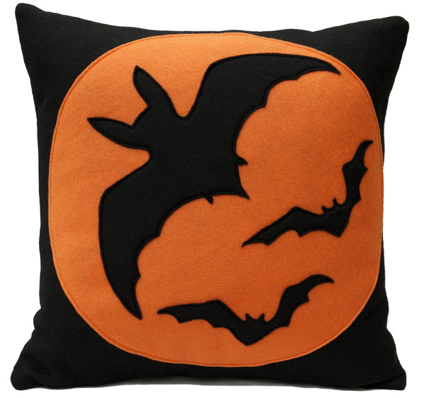 Bats Pillow Cover Orange on Black 18 inches - Studio Arethusa  - 1