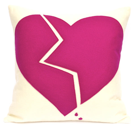 Broken Heart Pillow Cover Shocking Pink on Antique White 18 inches - Studio Arethusa
