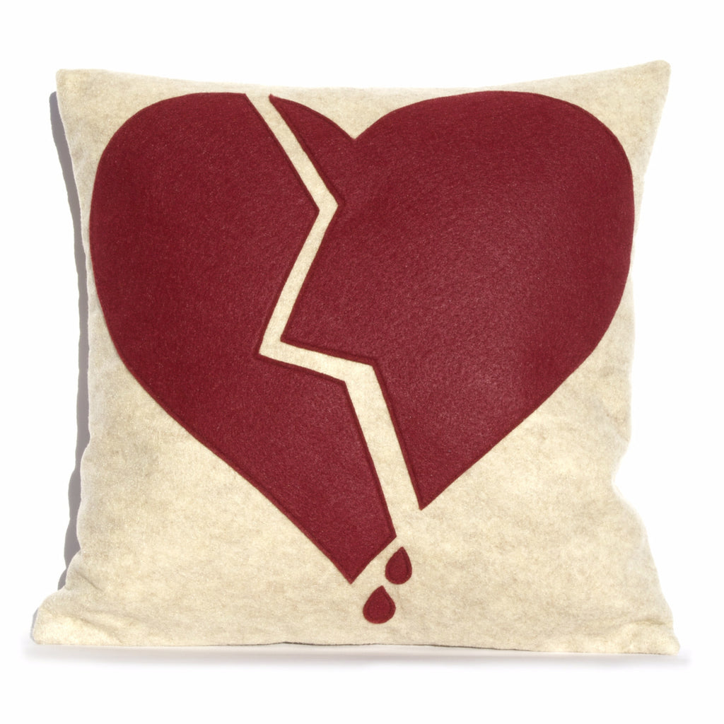 Broken Heart Pillow Cover custom colors 18 inches - Studio Arethusa