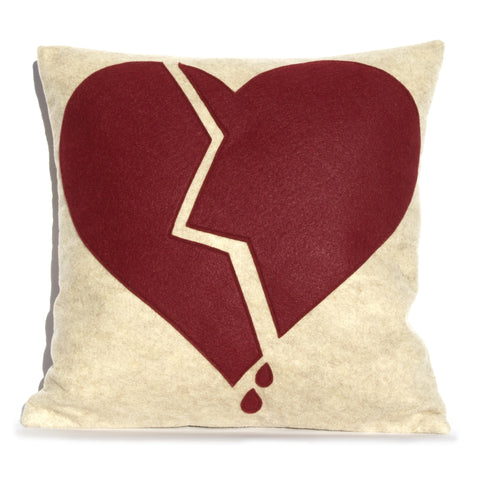 Broken Heart Pillow Cover Ruby on Sandstone 18 inches - Studio Arethusa  - 1