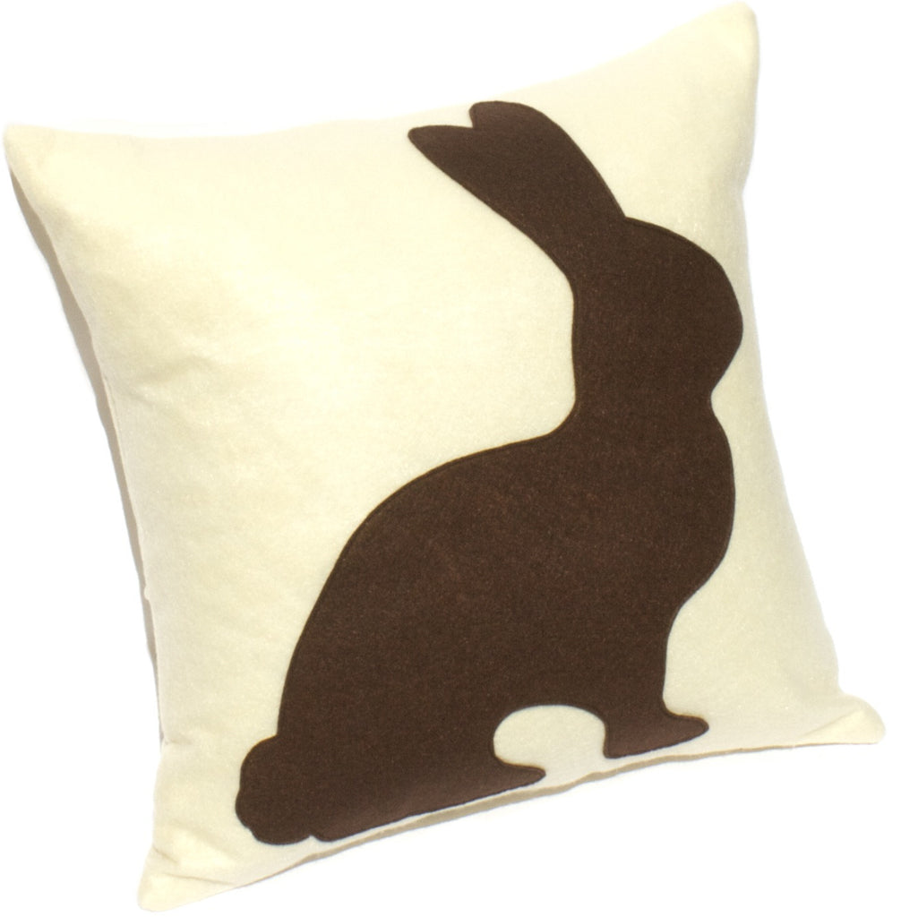 Chocolate Bunny - 18 inch Eco Felt Easter Pillow Cover in Milk Chocolate and Antique White - Studio Arethusa  - 1
