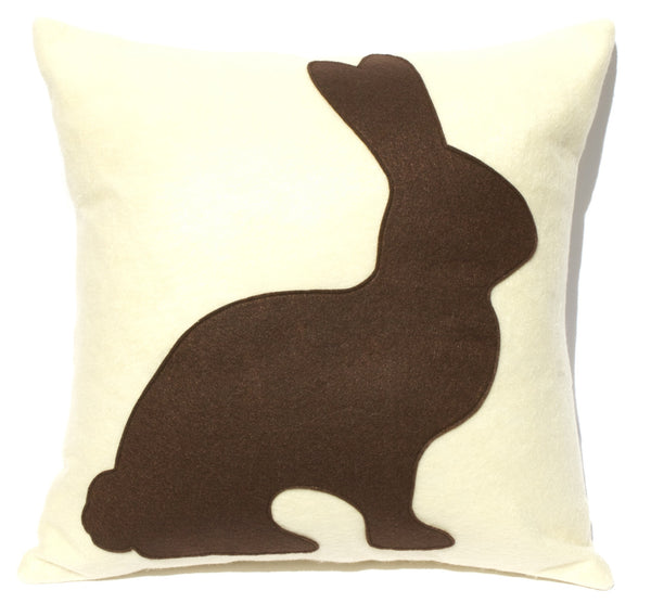Chocolate Bunny - 18 inch Eco Felt Easter Pillow Cover in Milk Chocolate and Antique White - Studio Arethusa  - 2