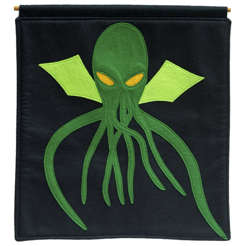 Cthulhu Wall Hanging in Deep Navy and Pirate Green - Studio Arethusa  - 1