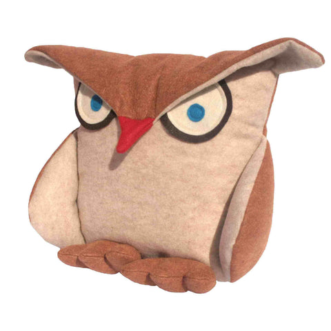 Disgruntled Owl - 12 inch eco felt pillow cover oatmeal and copper - Studio Arethusa  - 1