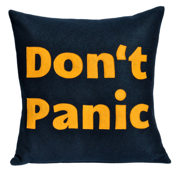 Don't Panic Pillow Cover Gold on Navy Blue- 18 inches - Studio Arethusa  - 1