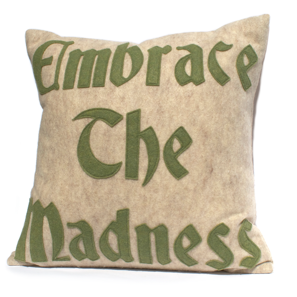 Embrace the Madness Pillow Cover in Sandstone and Olive - 18 inches - Studio Arethusa  - 1
