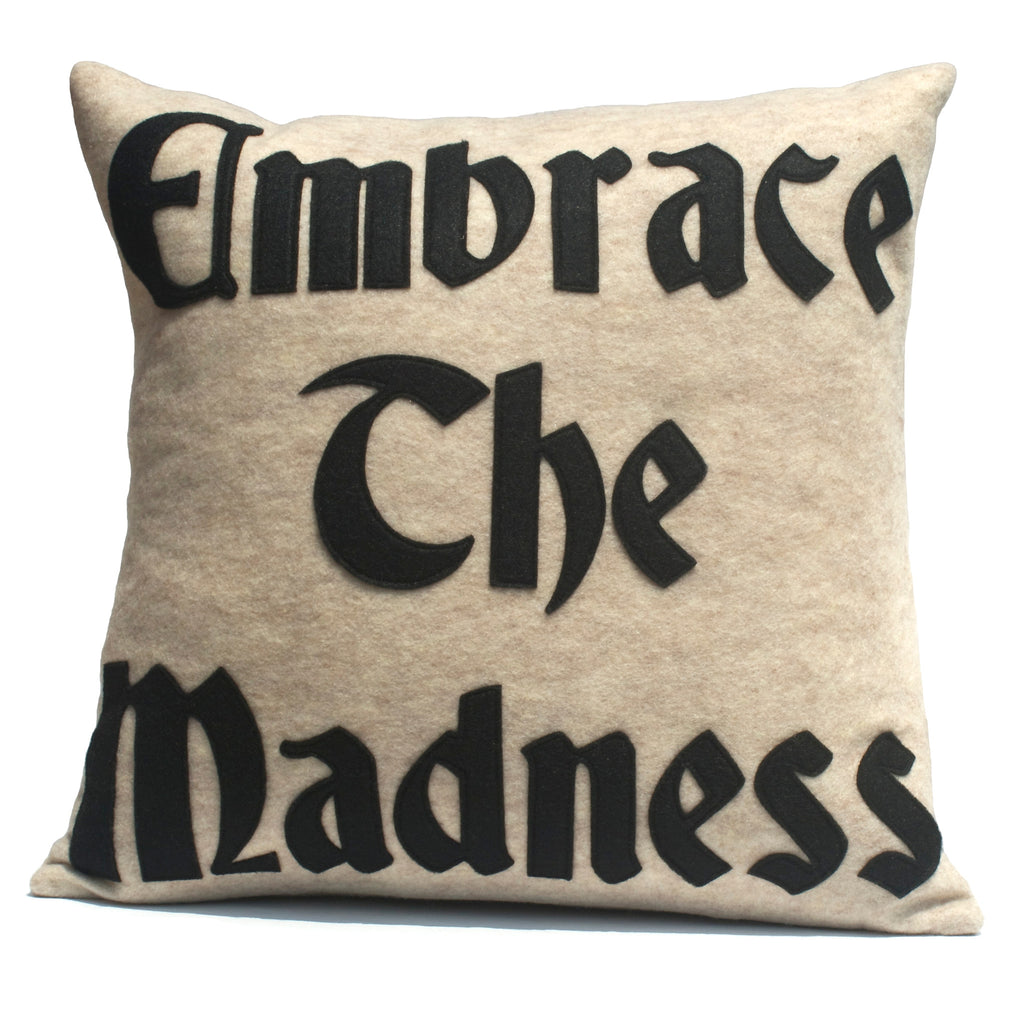 Embrace the Madness Pillow Cover in Sandstone and Black - 18 inches - Studio Arethusa