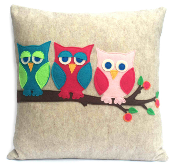 Little Owl Pillow Cover - And Then There Were Three - 18 inches - Studio Arethusa  - 1