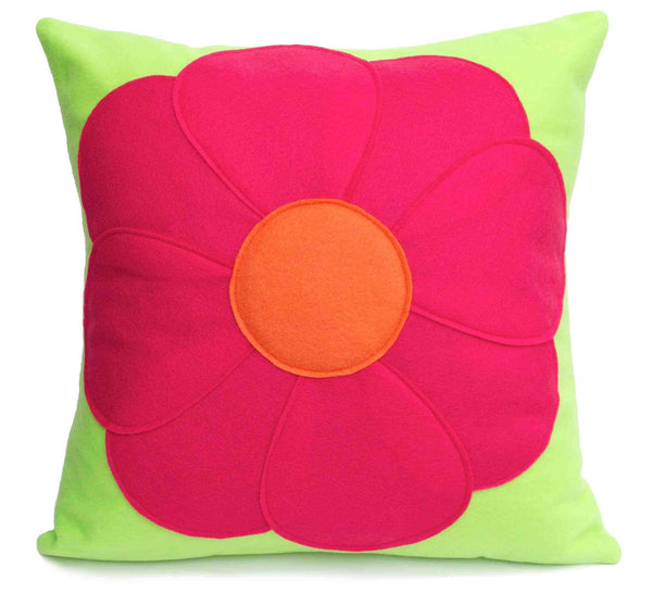 Pink Flower Power Pillow Cover Eco Felt - 18 inches - Neon Green and Shocking Pink - Studio Arethusa  - 1