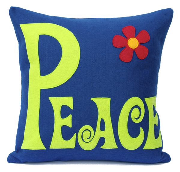 Groovy Peace Appliqued Eco-Felt Pillow Cover Navy and Green - 18 inch Pillow Cover - Studio Arethusa  - 1
