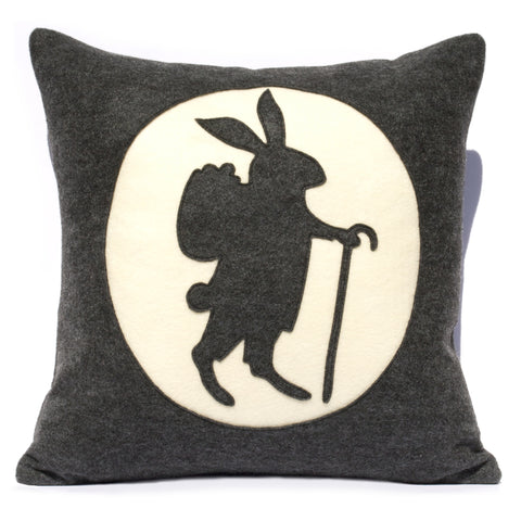 Easter Bunny Pillow Cover - 18 inch Eco Felt in Charcoal Grey and Antique White - Studio Arethusa