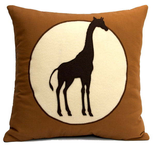 Giraffe pillow cover Victorian Style Shadow Silhouette on Eco Felt and Organic Cotton 18 inches - Studio Arethusa  - 1
