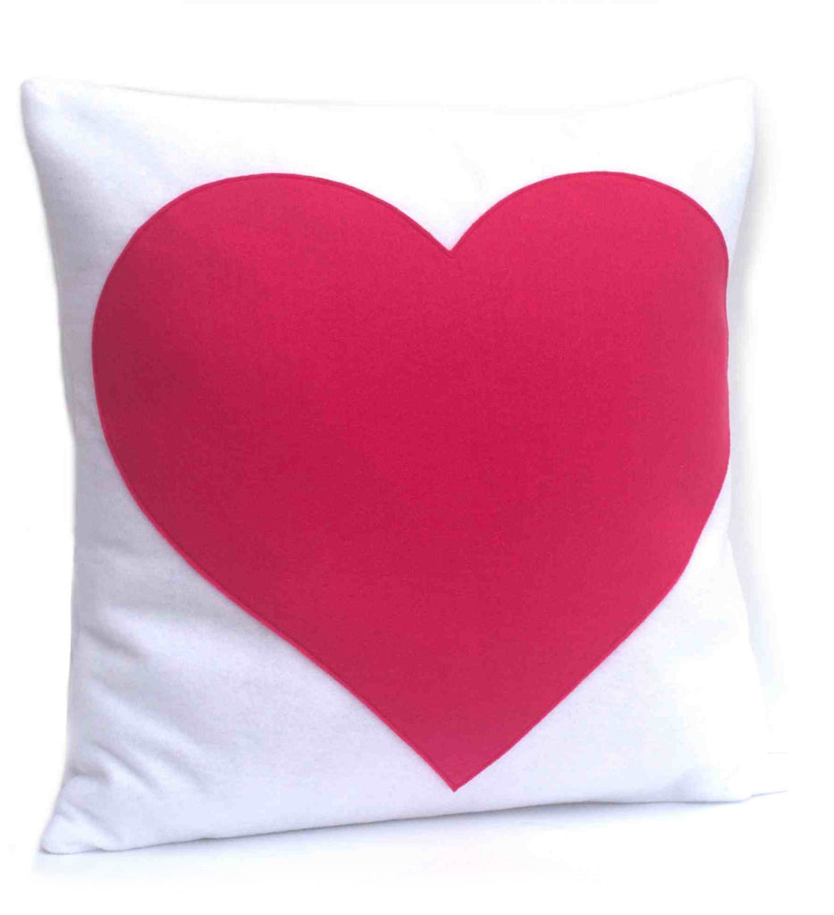 Heart Pillow Cover Pink on Pure White - 18 inches - Studio Arethusa  - 1