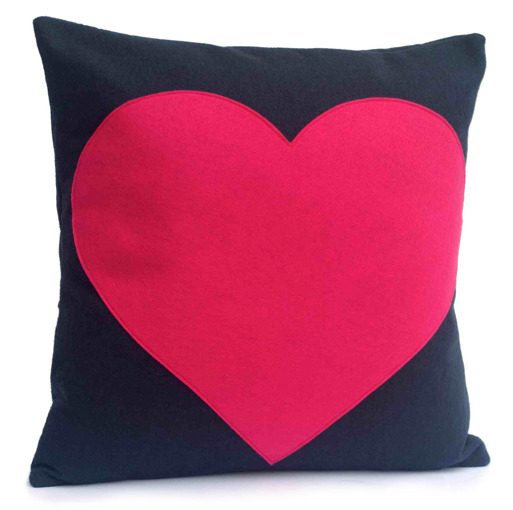Heart Pillow Cover Pink on Navy Blue  - 18 inches - Studio Arethusa