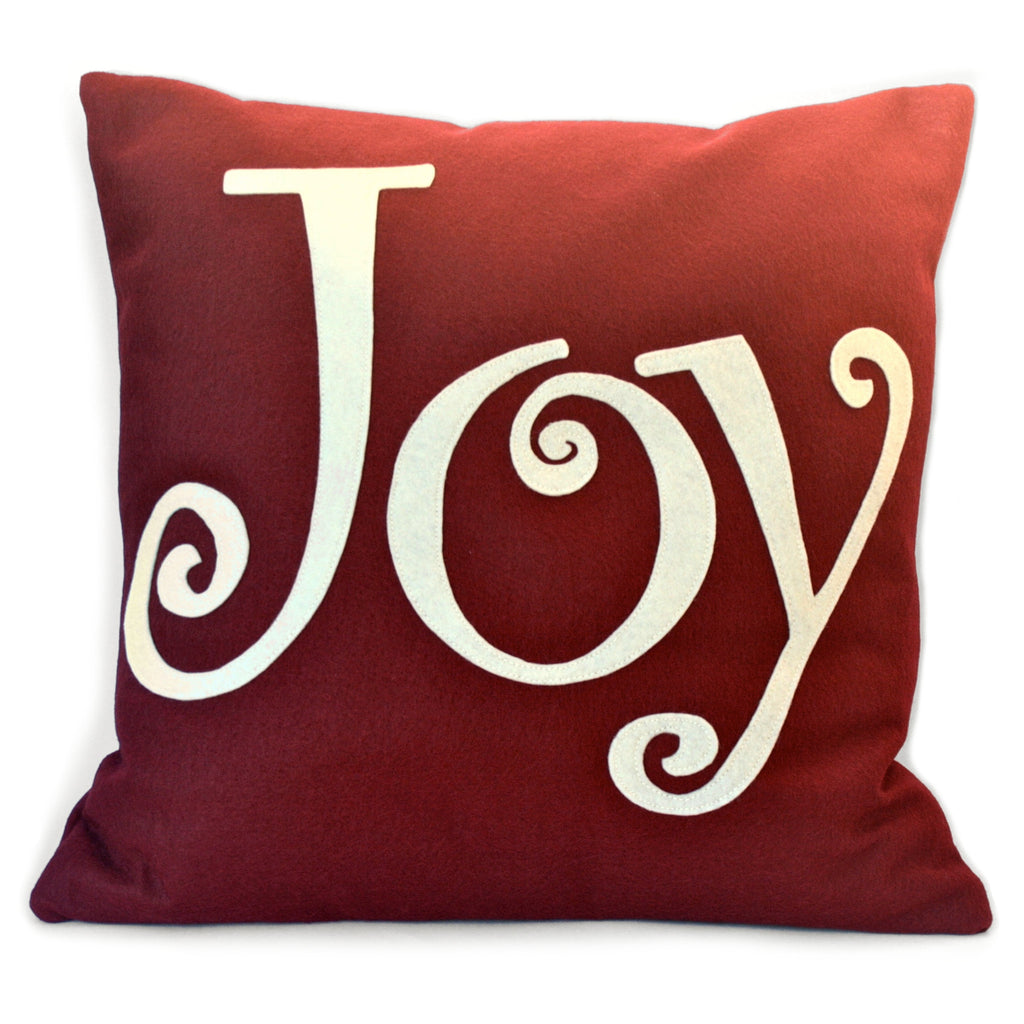 Joy - Appliqued Pillow Cover in Ruby Red and Antique White - 18 inches - Studio Arethusa  - 1