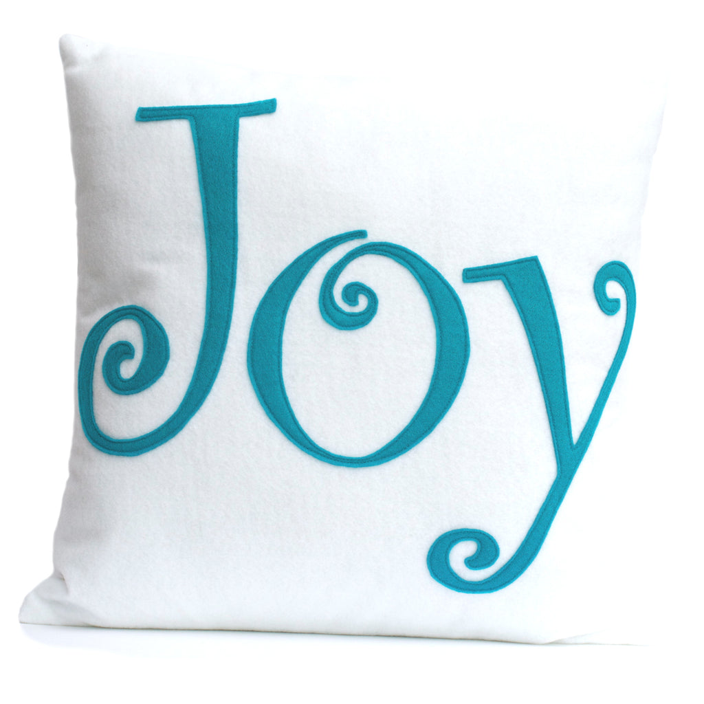 Joy - Appliqued Eco-Felt Pillow Cover in White and Peacock - 18 inches - Studio Arethusa  - 1