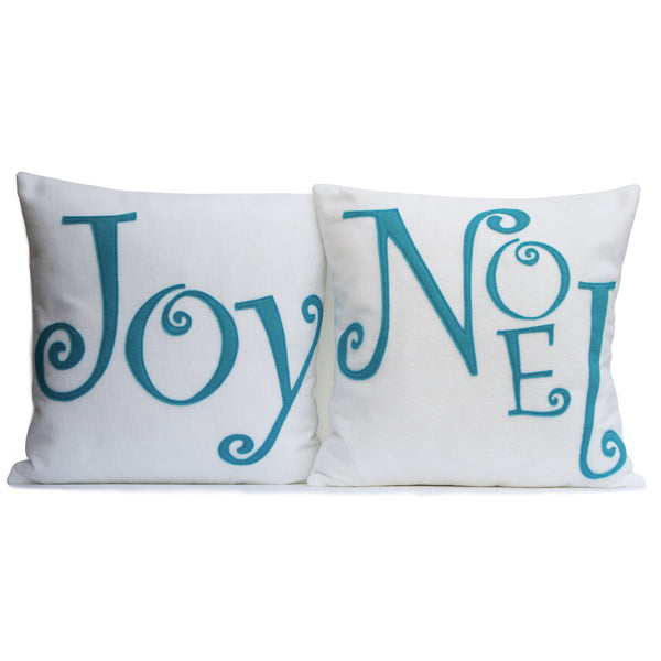 Joy - Appliqued Eco-Felt Pillow Cover in White and Peacock - 18 inches - Studio Arethusa  - 2