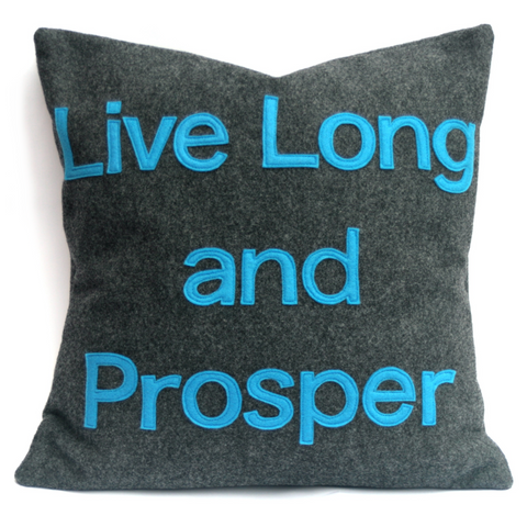 Live Long and Prosper- Star Trek Pillow Cover in Charcoal Gray and Science Blue Eco Felt- 18 inches - Studio Arethusa  - 1
