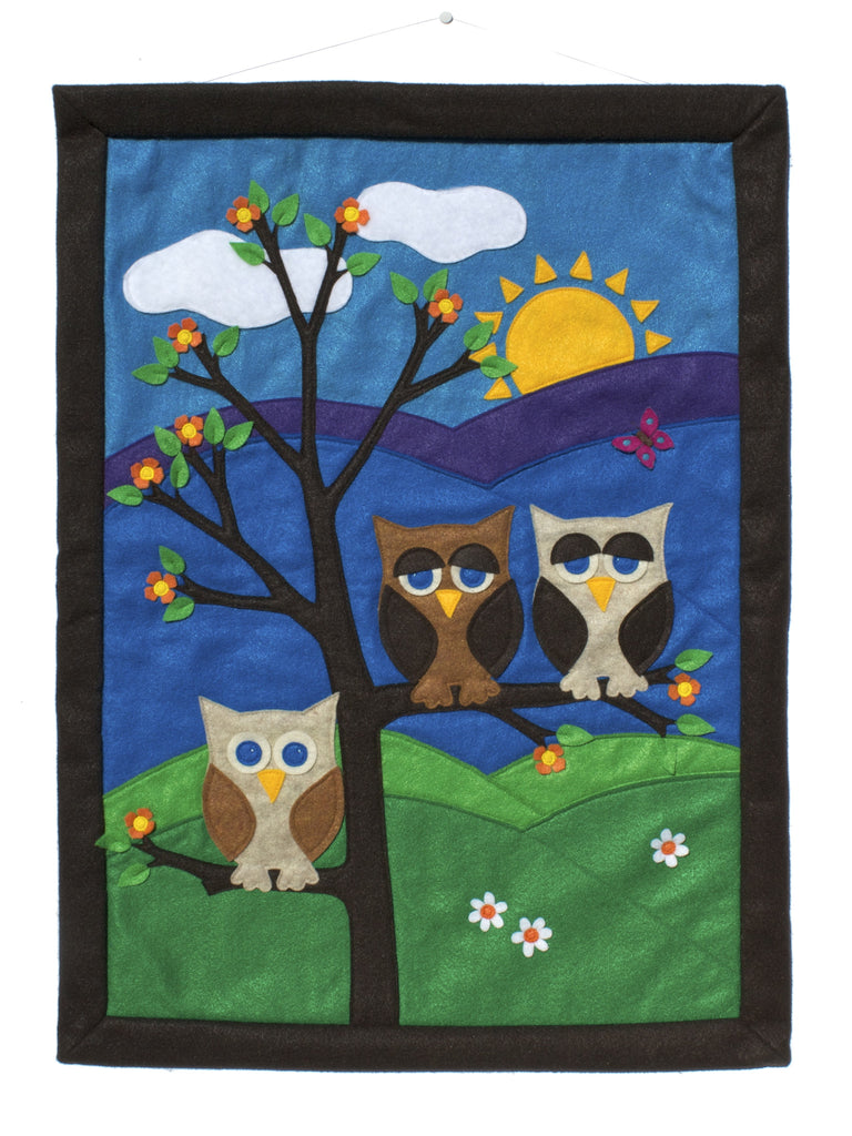 Large Wall Banner - Family of Three done in Felt Appliqué - Studio Arethusa  - 1