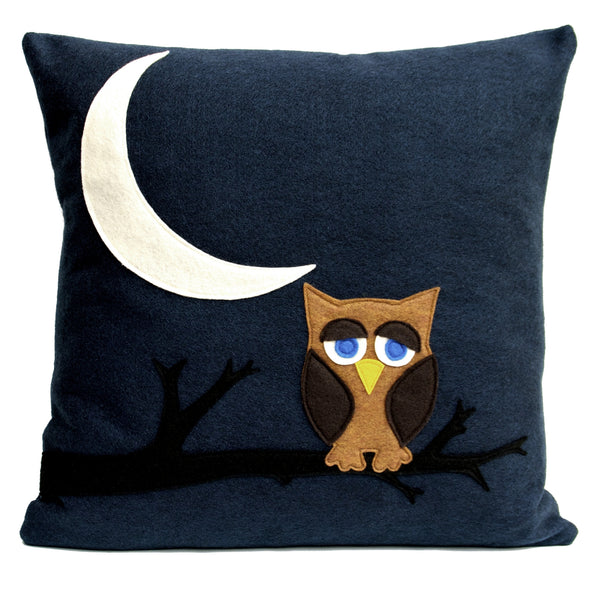 Little Owl Dreaming of Flying to The Moon and Back Eco-Felt Pillow Cover 18 inches - Navy Blue - Studio Arethusa  - 1