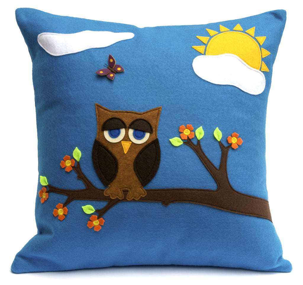 Little Owl in Springtime - Appliqued Eco-Felt Pillow Cover - 18 inches - Studio Arethusa  - 1