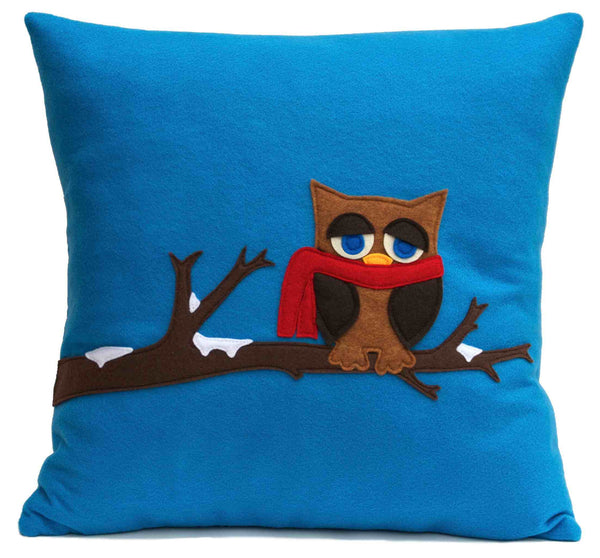 Little Owl in Winter- Appliqued Pillow Cover Blue Eco-Felt - 18 inches - Studio Arethusa  - 1