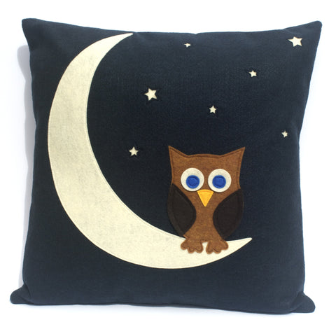 Little Owl Made it to The Moon Throw Pillow Cover - Navy Blue Eco-Felt  - 18 inches - Studio Arethusa  - 1