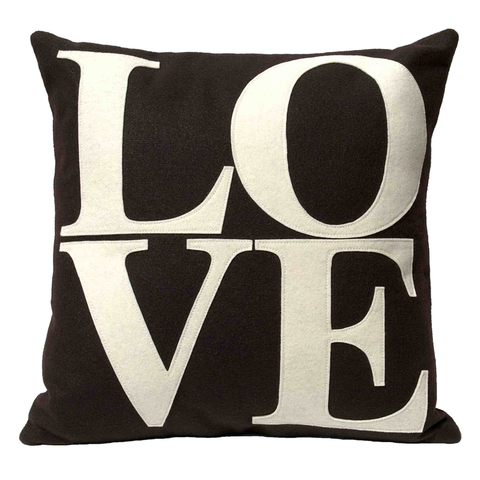 LOVE Pillow Cover Cocoa and Cream - 18 inches - Studio Arethusa