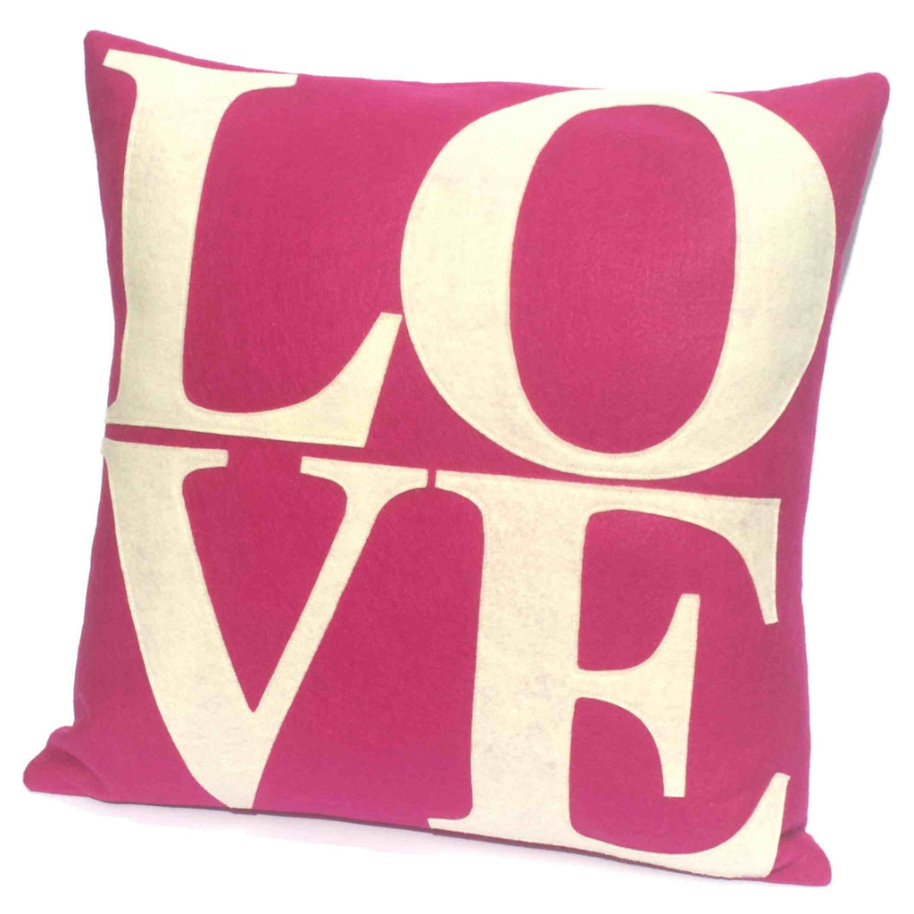 LOVE Pillow Cover Antique White on Fuchsia - 18 inches - Studio Arethusa  - 1