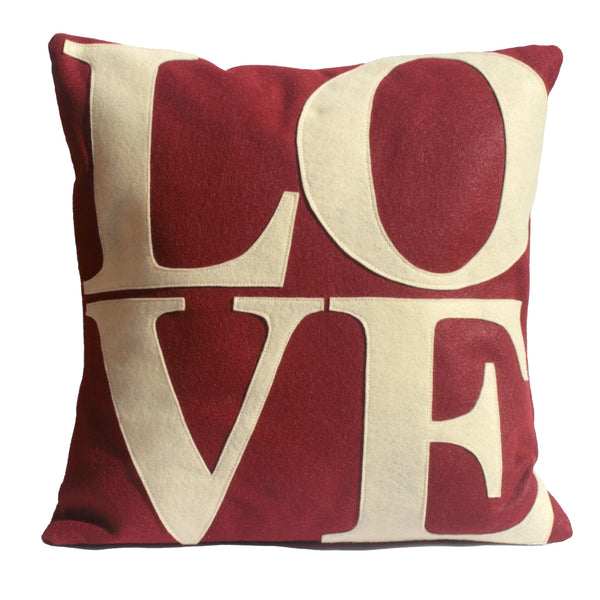 LOVE Pillow Cover Ruby Red and Antique White - 18 inches - Studio Arethusa  - 1