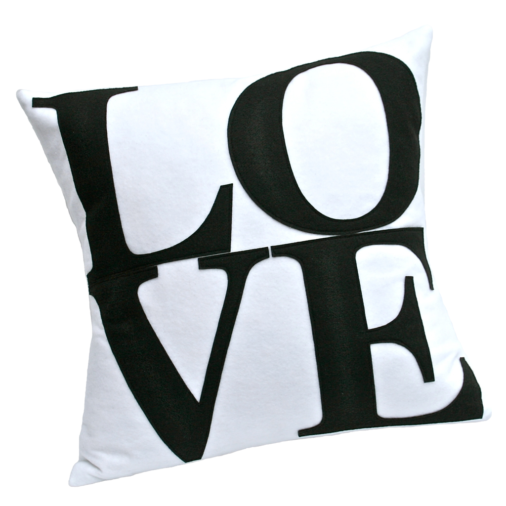 LOVE Pillow Cover Black on White  18 inches - Studio Arethusa
